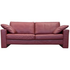 Ewald Schillig Designer Two-Seat Couch Leather Red Couch Modern