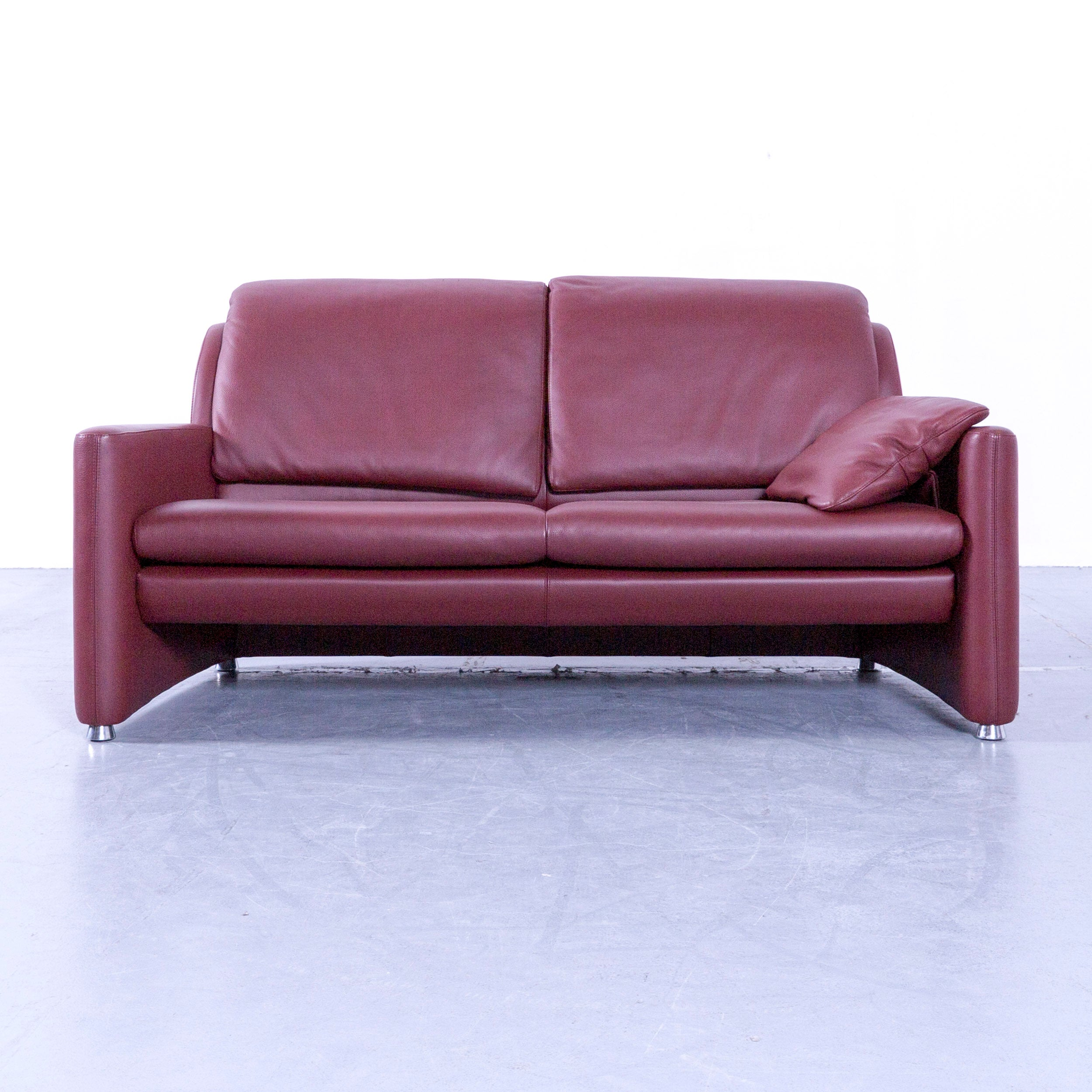 Leolux Fidamigo Designer Leather Sofa Red Two Seat Function Couch at