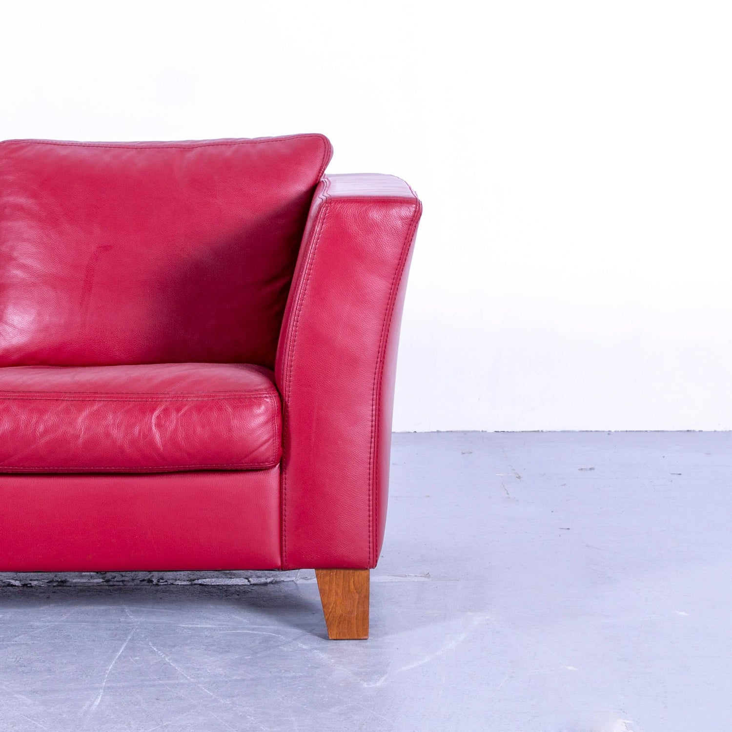 Machalke Designer Leather Sofa Red Two Seat Couch at 1stdibs