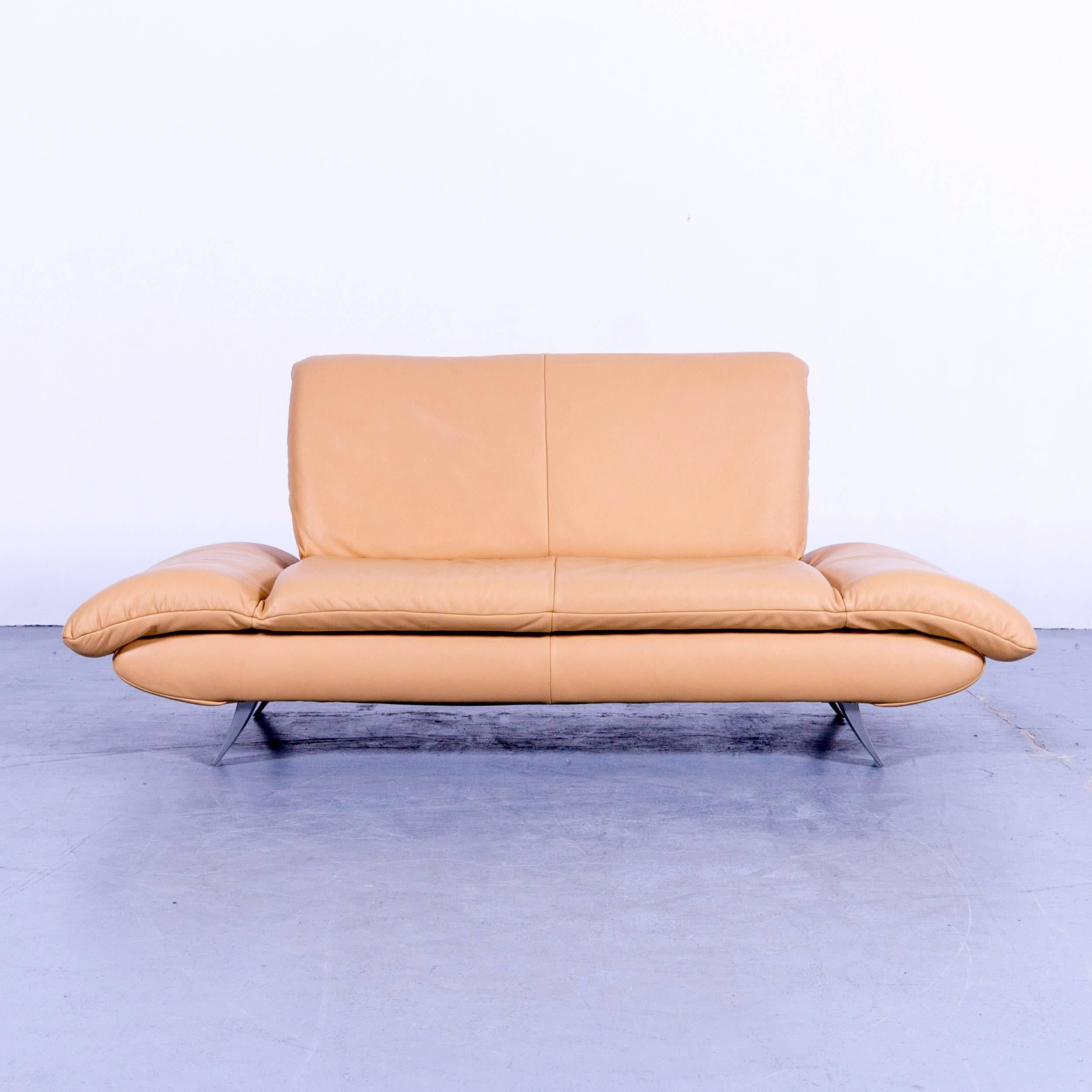 Koinor Rossini Designer Two Seat Sofa Ocher Yellow Beige Leather Function  Modern, In A