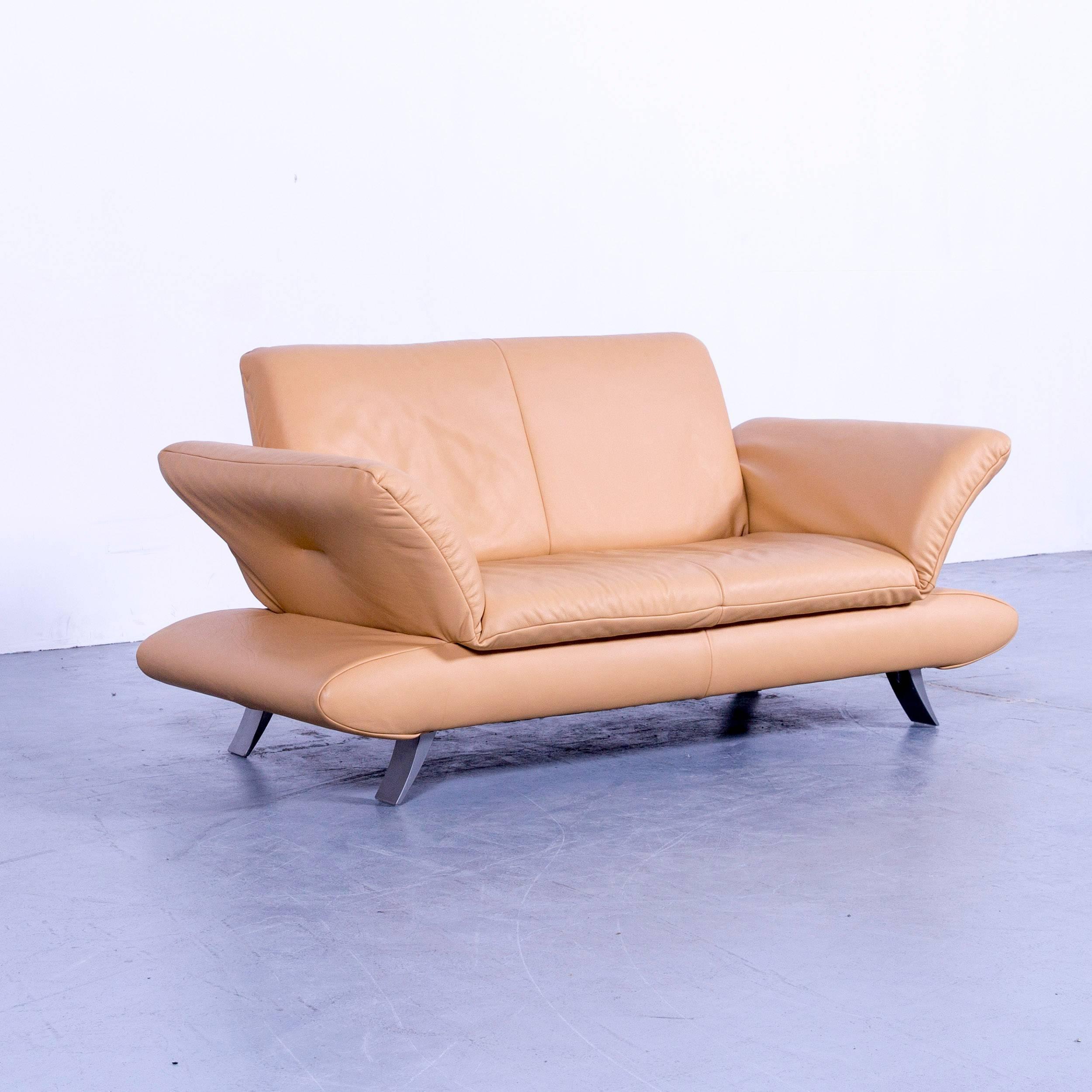Modern Koinor Rossini Designer Two Seat Sofa Ocher Yello Beige Leather  Function For Sale