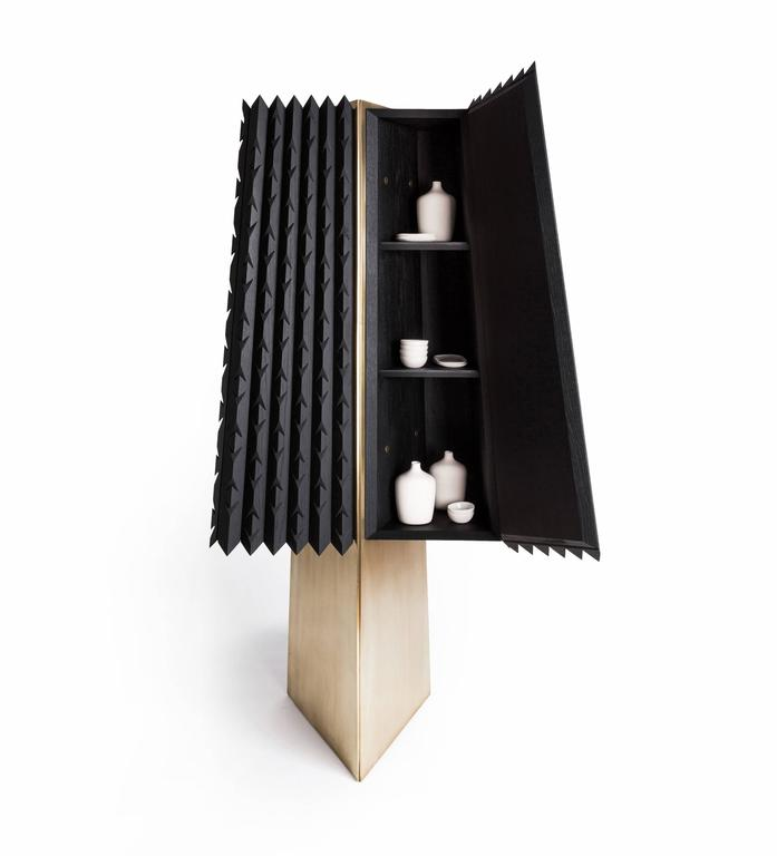 Modern Cabinet in Black Tinted Hardwood and Brass, Agave Collection For Sale