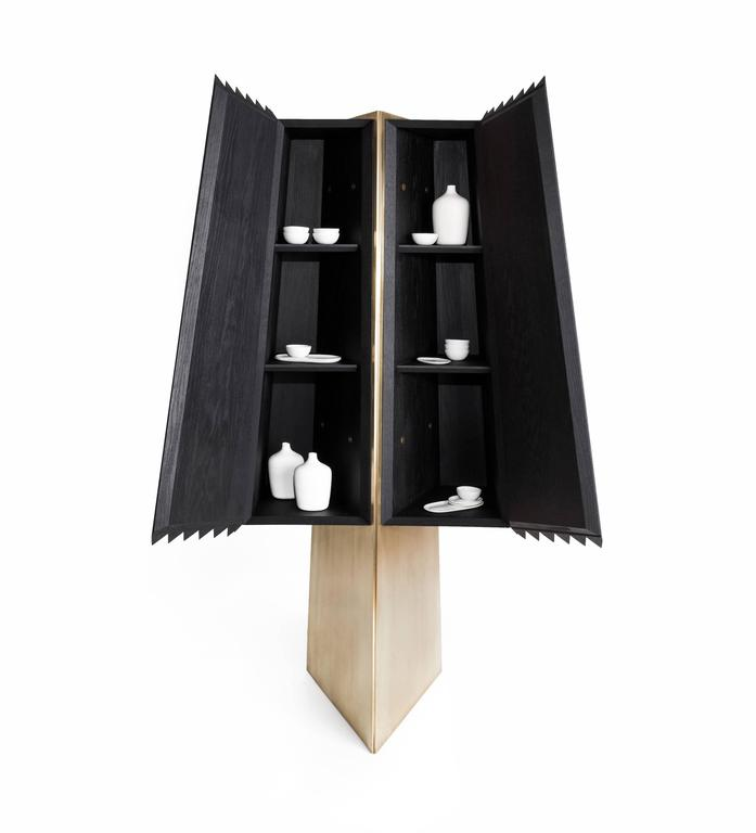 Mexican Cabinet in Black Tinted Hardwood and Brass, Agave Collection For Sale