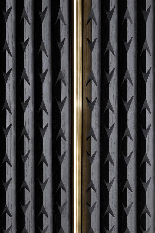 Cabinet in Black Tinted Hardwood and Brass, Agave Collection For Sale 1