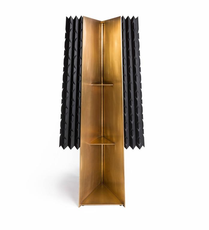 Cabinet in Black Tinted Hardwood and Brass, Agave Collection For Sale 4