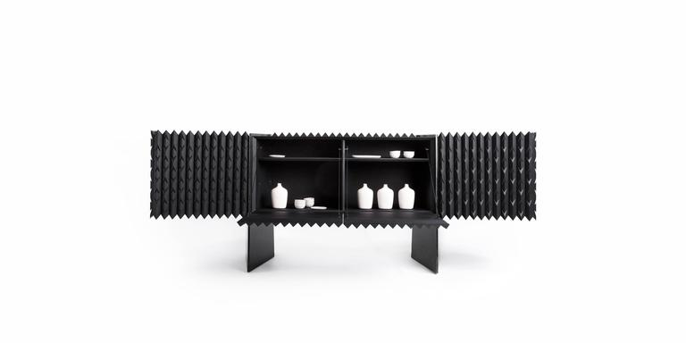 Mexican Credenza Buffet in Black Hardwood For Sale
