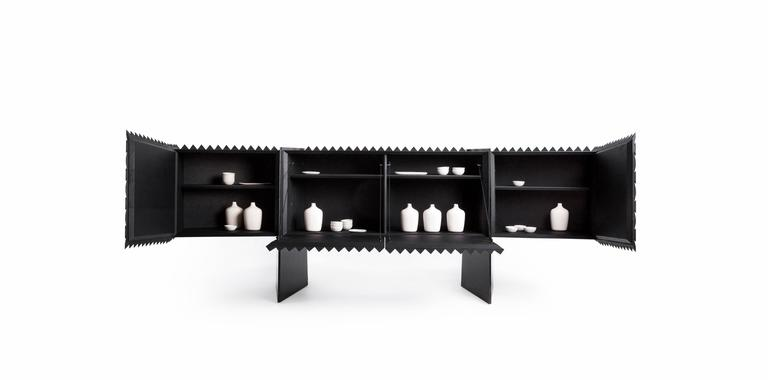 Credenza Buffet in Black Hardwood In New Condition For Sale In Mexico City, CDMX