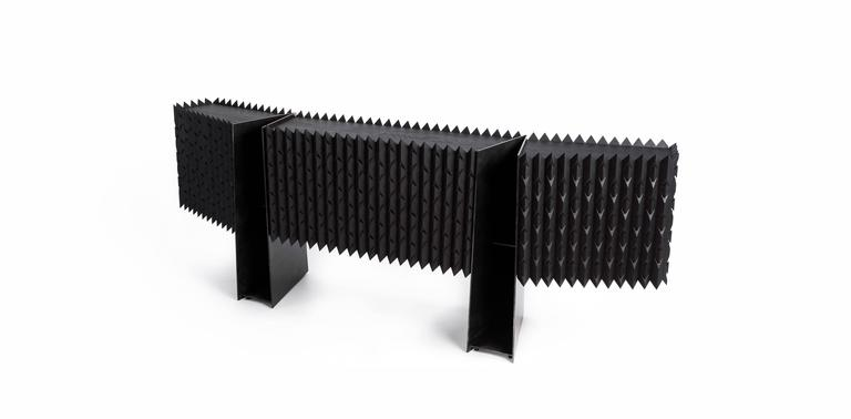 Steel Credenza Buffet in Black Hardwood For Sale