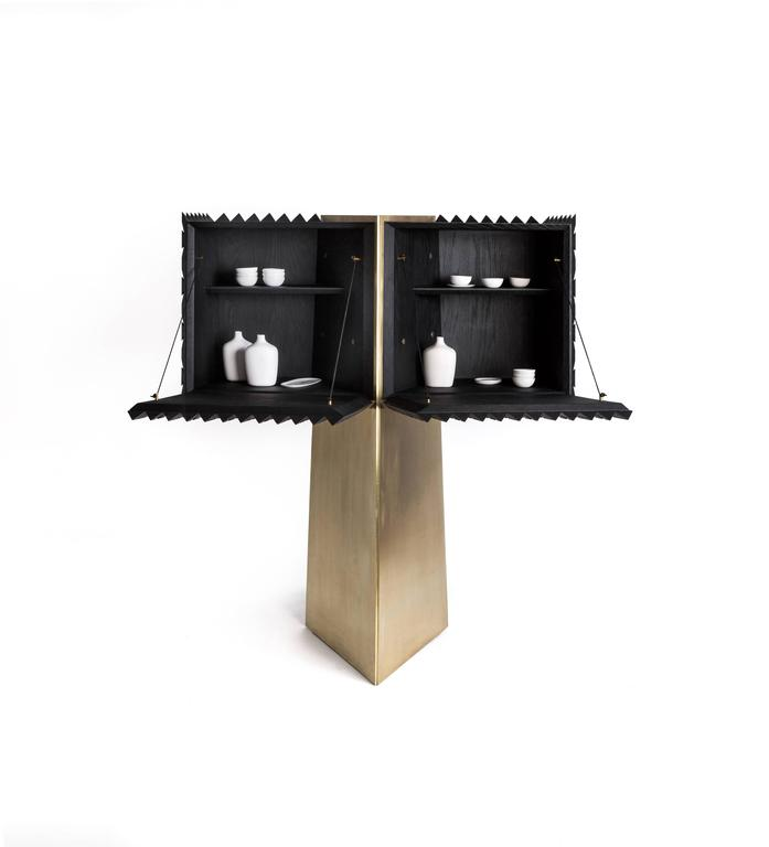 Contemporary Cabinet in Black Tinted Hardwood and Brass, Agave Collection For Sale