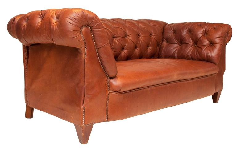 Great Britain (UK) Edwardian Double Drop Arm Brown Leather Sofa/Chesterfield  For Sale