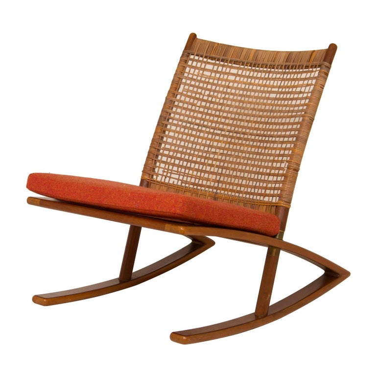 1950s Fredrik Kayser Rocking Chair in Afromosia and Cane