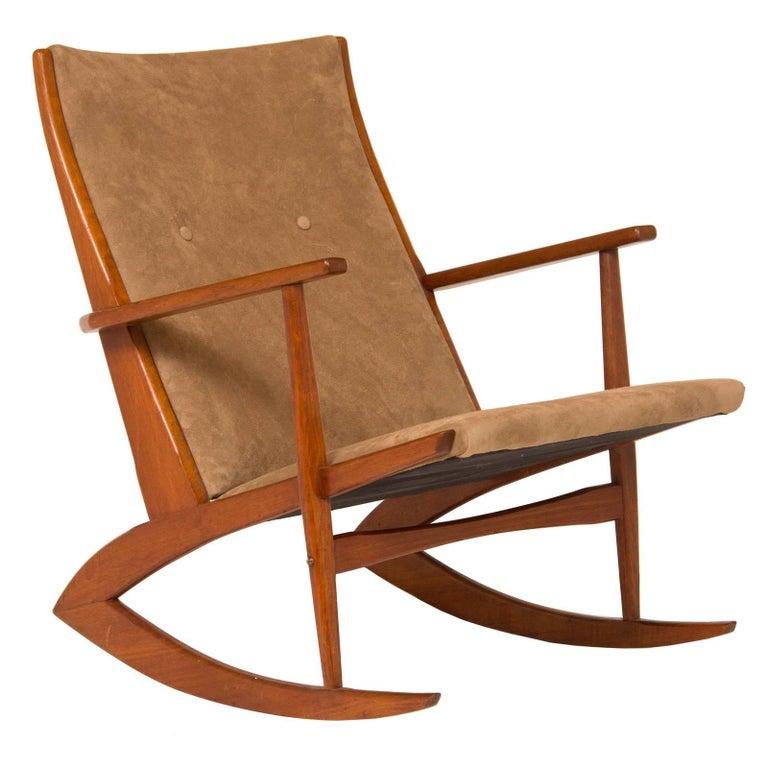 1950s Teak and Suede Soren Georg Jensen Rocking Chair