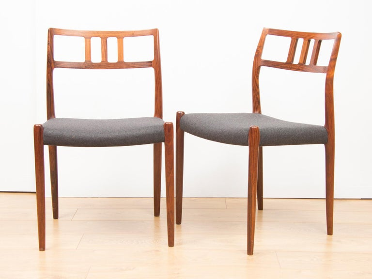 Danish rosewood set of 6 Model 79 chairs by Neils Otto Moller for J L Moller, circa 1960.