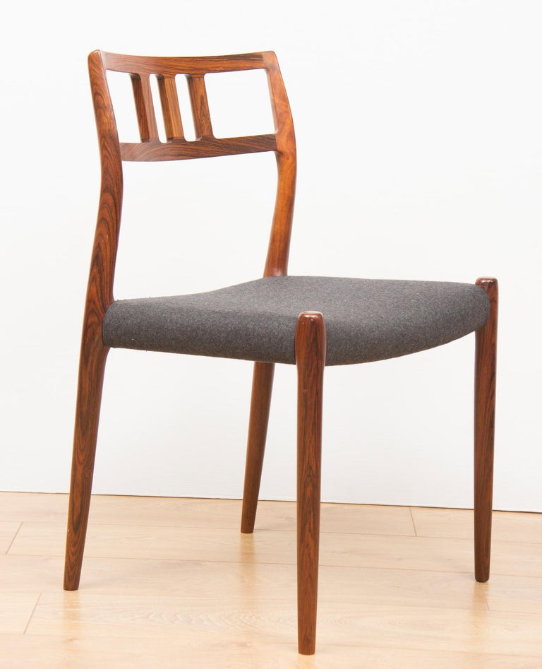 Mid-Century Modern Danish Set of 6 Model 79 Chairs by Neils Otto Moller for J L Moller, circa 1960 For Sale