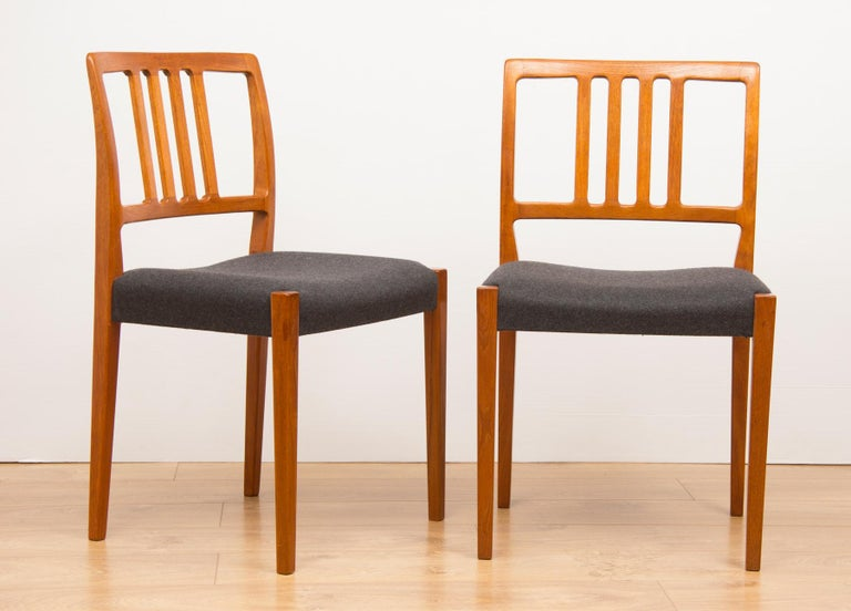 Set of 4 teak dining chairs by Hugo Troeds Bjärnum, Swedish, circa 1960s. Newly upholstered.