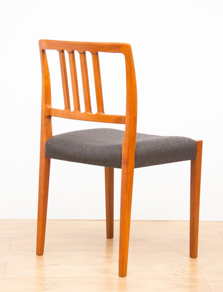 Mid-20th Century Set of 4 Teak Dining Chairs by Hugo Troeds Bjärnum, Swedish, circa 1960s For Sale