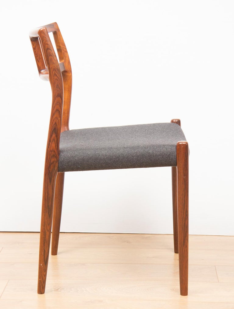 Danish Set of 6 Model 79 Chairs by Neils Otto Moller for J L Moller, circa 1960 In Good Condition For Sale In Surbiton, GB