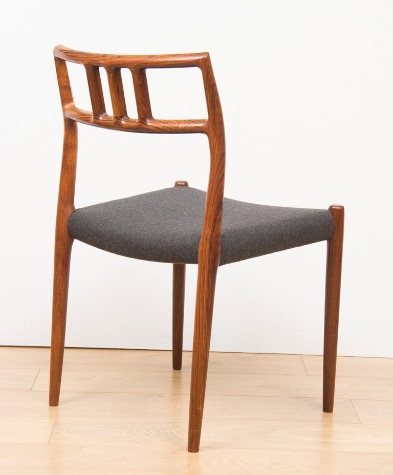 Mid-20th Century Danish Set of 6 Model 79 Chairs by Neils Otto Moller for J L Moller, circa 1960 For Sale