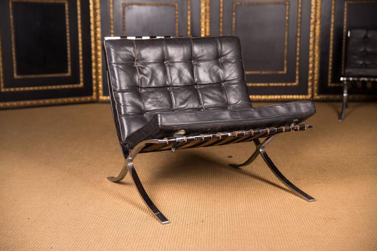Barcelona Chair. Steel Frame, Chrome Plated, Black, Quilted Leather  Upholstery,