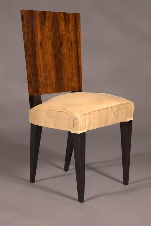 French Elegant Chair in Art Deco Style, Rosewood Veneer For Sale