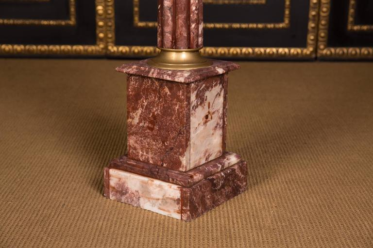 Hand-Crafted High Quality Marble Column with Bronze in the Style of Classicism For Sale