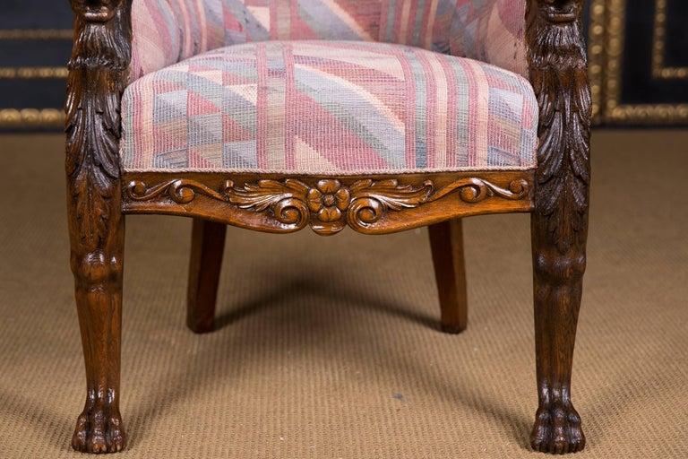 Renaissance Revival 19th Century, Neo Renaissance Chair with Lion Head,  circa 1850-1870 - 19th Century, Neo Renaissance Chair With Lion Head, Circa 1850-1870