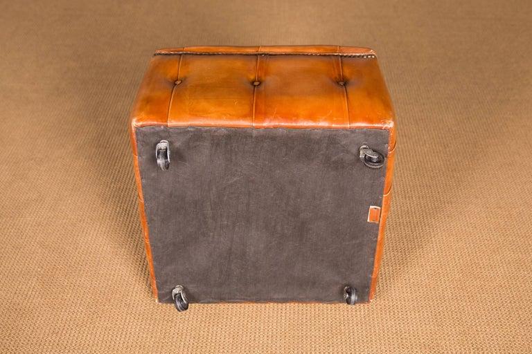 20th Century Original English Chesterfield Leather Stool