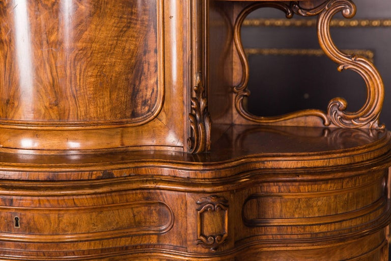Mid-19th Century Late 19th Century Biedermeier Top Cupboard, circa 1860 Walnut Veneer For Sale