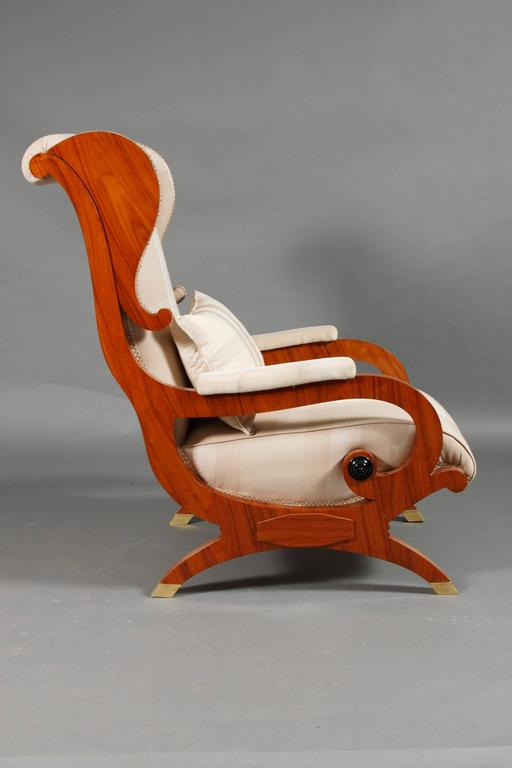 German White Armchair made of Rosewood in Biedermeier Style  For Sale