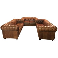 Chesterfield Seating Set in Vintage Style, Genuine Leather Beautiful Patina