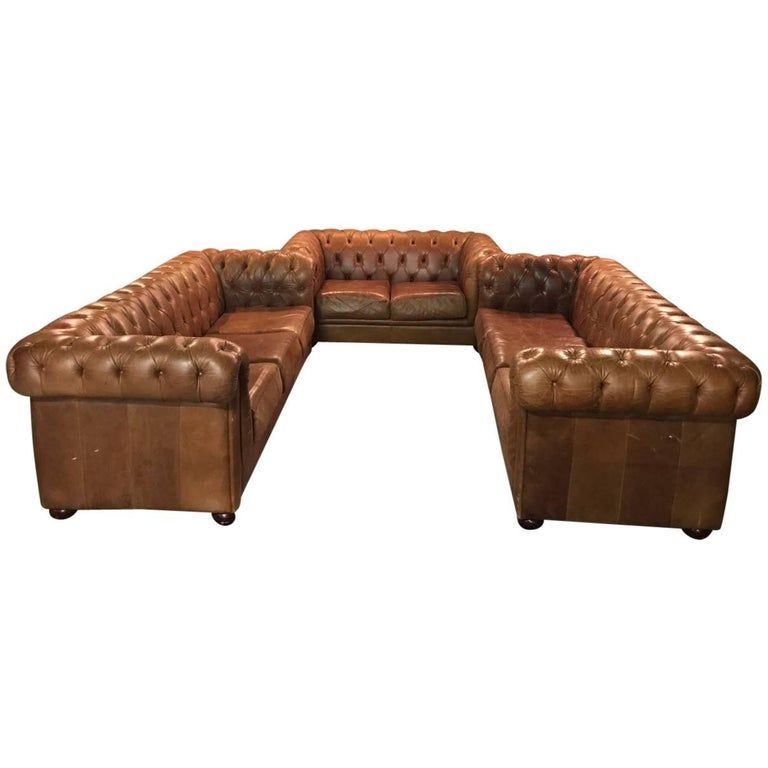 Chesterfield seating set in vintage style genuine leather for Decor jewelry chesterfield