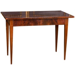 19th Century Old Biedermeier Backgammon Table with Mahogany Veneer Nice Patina