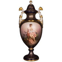 Meissen Amphorae Cover Vase with Watteau Painting