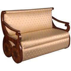 White Canapé Sofa in Viennese Biedermeier Style, Rosewood Veneer on Beechwood