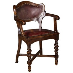 19th Century, Neo Renaissance Late Victorian Armchair made of Solid Oak