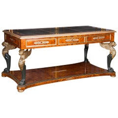 20th Century, French Desk or Bureau Plat with Lions in the Empire Style