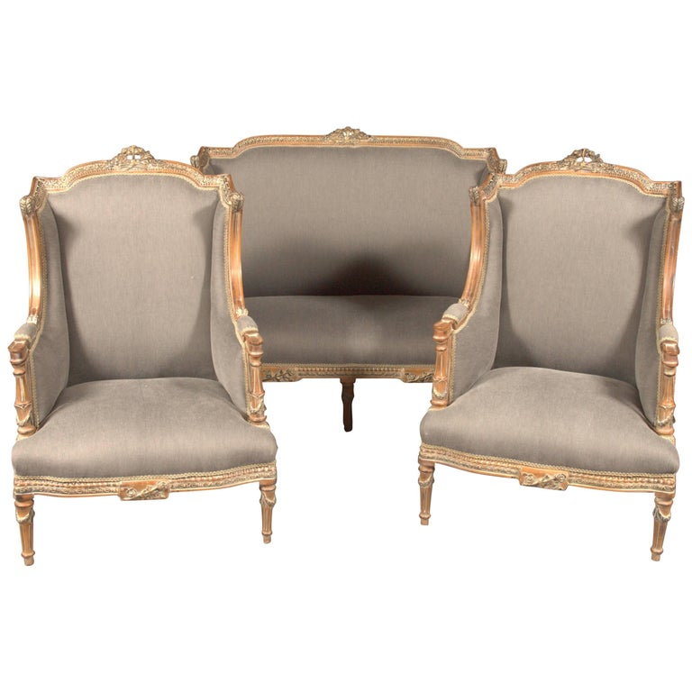 20th Century Classic Seating Set of Three Pieces in the Louis XVI Style For Sale