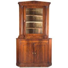 19th Century Biedermeier Corner Cupboard Cuba Mahogany Veneer