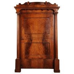 19th Century Original Biedermeier Cabinet, Cuba Mahogany Veneer Warm Patina