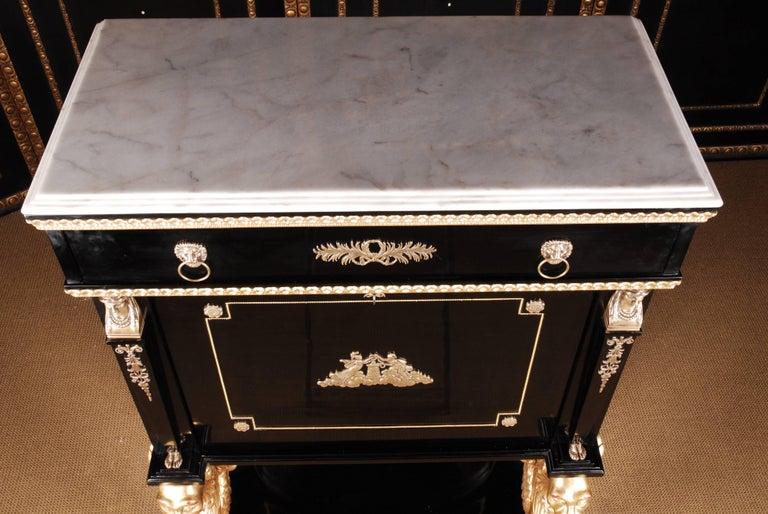 French 20th Century Napoleonic Secretaire in the Empire Style Ebonized Wood Veneer For Sale