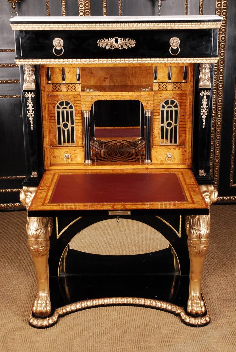 20th Century Napoleonic Secretaire in the Empire Style Ebonized Wood Veneer In Good Condition For Sale In Berlin, DE