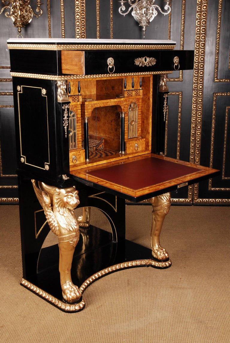 20th Century Napoleonic Secretaire in the Empire Style Ebonized Wood Veneer For Sale 1