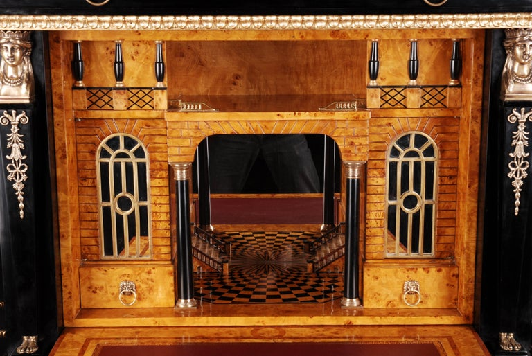 20th Century Napoleonic Secretaire in the Empire Style Ebonized Wood Veneer For Sale 2