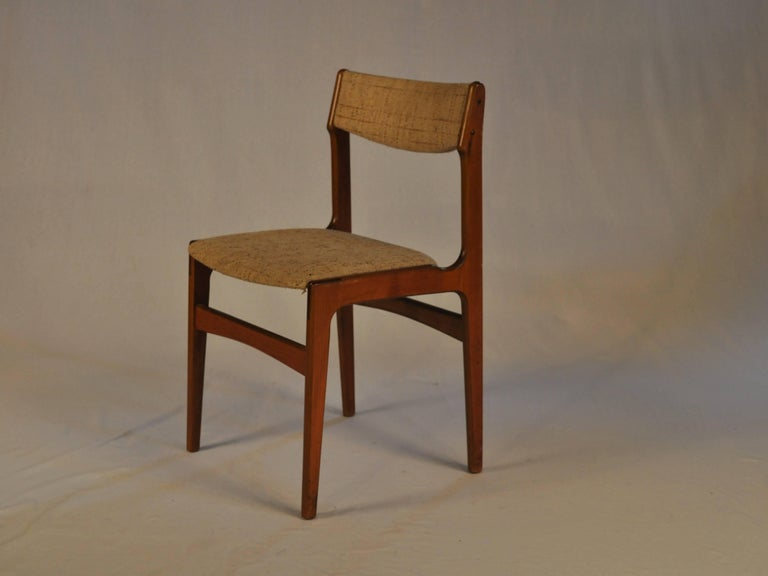 Scandinavian Modern 1960s Erik Buch Set of Six Dining Chairs in Teak and Fabric For Sale