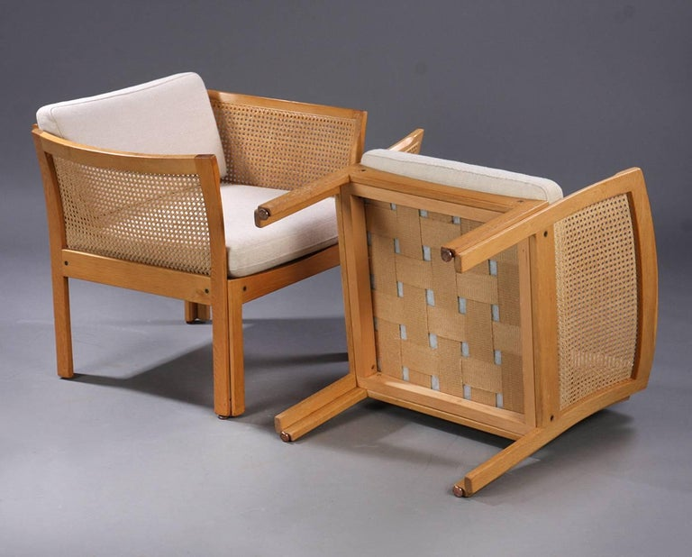 Woodwork 1960s Illum Vikkelso Set of Three DanisPlexus Easy Chairs in Oak and Grey Fabric For Sale