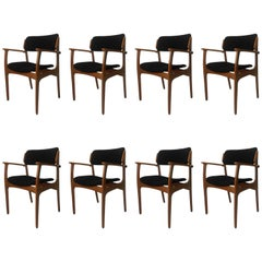 1950s Erik Buch Set of Eight Model 50 Armchairs in Oak and Black Fabric