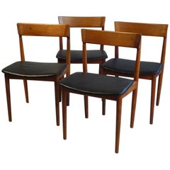 1960s Henry Rosengren Hansen 4 Model 39 Teak Dining Chairs in Teak and Leather