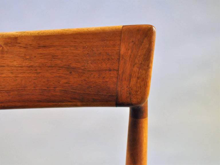 1960s Henry Rosengren Hansen 4 Model 39 Teak Dining Chairs in Teak and Leather In Good Condition For Sale In Knebel, DK