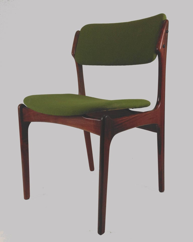 Danish 1960s Erik Buch Set of Eight Model 49 Rosewood Dining Chairs For Sale