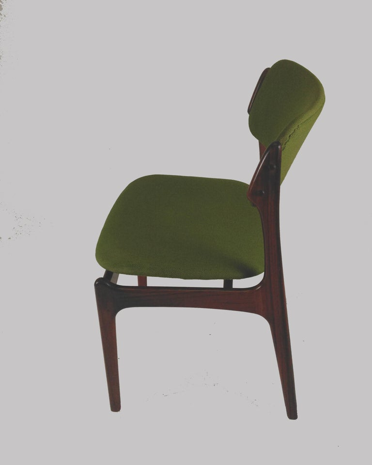 Woodwork 1960s Erik Buch Set of Eight Model 49 Rosewood Dining Chairs For Sale
